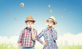 Kids with mustache Stock Photo
