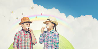 Kids with mustache Royalty Free Stock Images