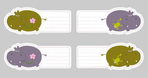 Kids name tags with cute hippo Royalty Free Stock Photography