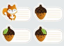 Kids name tags with cute squirrel Royalty Free Stock Photo