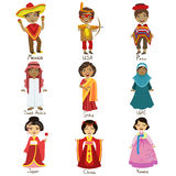 Kids In National Costumes Set Stock Images