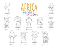 Kids and nationalities of the world vector: Africa. Set of 11 characters for coloring dressed in different national costumes. Kids of the World Series royalty free illustration