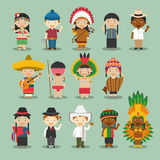 Kids and nationalities of the world vector: America Set 4. Set of 14 characters dressed in different national costumes Stock Photos
