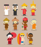Kids and nationalities of the world vector: Asia and Oceania/Australia Set 3. Royalty Free Stock Photography