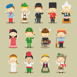 Kids and nationalities of the world vector: Europe Set 1. Set of 13 characters dressed in different national costumes Royalty Free Stock Photography