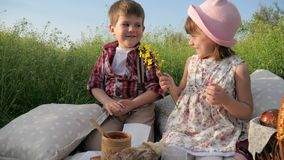 Kids on nature background, boy is giving flowers to pretty girl, two adorable children, boy is looking at beautiful girl. Looking at each other, happy family stock video