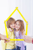 Kids in new home. Happy family Royalty Free Stock Photography