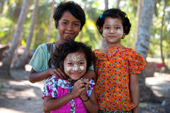 Kids from Ngwe Saung , Myanmar Royalty Free Stock Image