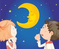 Kids at night with moon Royalty Free Stock Photography