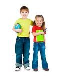 Kids with notebook and globe Royalty Free Stock Photo