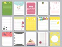 Kids notebook page template vector cards, notes, stickers, labels, tags paper sheet illustration. Template cover for scrapbooking, wrapping, congratulations Stock Photography