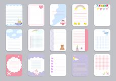 Kids notebook page template vector cards, notes, stickers, labels, tags paper sheet illustration. Template cover for scrapbooking, wrapping, congratulations Royalty Free Stock Image
