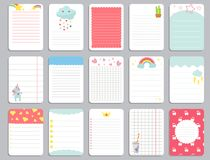 Kids notebook page template vector cards, notes, stickers, labels, tags paper sheet with unicorn illustrations. Template cover for scrapbooking, wrapping Royalty Free Stock Photos