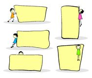 Kids With Notes. Cute cartoon kids playing around notes, with space for your text Stock Photo