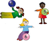 Kids numbers. Illustration with kids with balls numbers Stock Photography