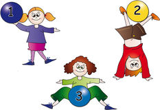 Kids numbers. Illustration with kids with balls numbers Royalty Free Stock Photography