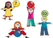 Kids numbers. Illustration with kids with balls numbers Stock Photos