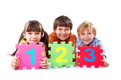 Kids with numbers royalty free stock photo