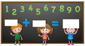 Kids and numbers on blackboard Stock Photo