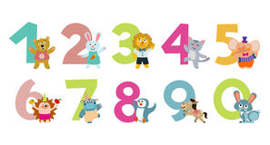 Kids numbers with cartoon animals vector illustration Royalty Free Stock Photos