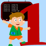 Kids & Numbers Series - 1. Kids and numbers series, from 1 to 9 with the multiplication tables Royalty Free Stock Images