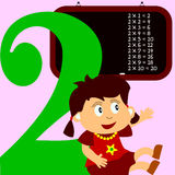 Kids & Numbers Series - 2. Kids and numbers series, from 1 to 9 with the multiplication tables Stock Images