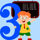 Kids & Numbers Series - 3. Kids and numbers series, from 1 to 9 with the multiplication tables Royalty Free Stock Image