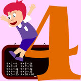 Kids & Numbers Series - 4. Kids and numbers series, from 1 to 9 with the multiplication tables royalty free illustration