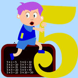 Kids & Numbers Series - 5. Kids and numbers series, from 1 to 9 with the multiplication tables stock illustration