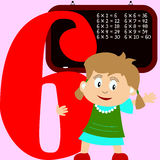 Kids & Numbers Series - 6. Kids and numbers series, from 1 to 9 with the multiplication tables Royalty Free Stock Photos