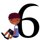 Kids & Numbers Series -6. Kids and numbers series, from 1 to 9 with the multiplication tables Royalty Free Stock Images