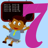 Kids & Numbers Series - 7. Kids and numbers series, from 1 to 9 with the multiplication tables Royalty Free Stock Image
