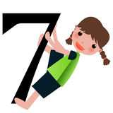 Kids & Numbers Series -7. Kids and numbers series, from 1 to 9 with the multiplication tables Royalty Free Stock Image