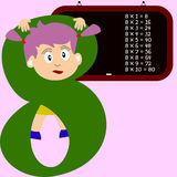 Kids & Numbers Series - 8. Kids and numbers series, from 1 to 9 with the multiplication tables Stock Photo