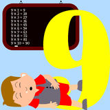 Kids & Numbers Series - 9. Kids and numbers series, from 1 to 9 with the multiplication tables Royalty Free Stock Images