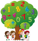 Kids and numbers on the tree. Illustration royalty free illustration
