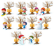 Kids and numbers on tree in winter. Illustration Royalty Free Stock Photo