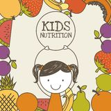 Kids nutrition design. Frame with colorful fruits and happy girl icon. kids nutrition concept. colorful design. vector illustration stock illustration