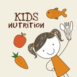 Kids nutrition design. Happy girl with carrot, fish and apple around her. kids nutrition concept. colorful design. vector illustration Stock Image