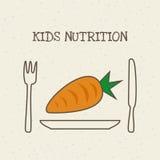 Kids nutrition design. Plate with carrot vegetable. kids nutrition concept. colorful design. vector illustration royalty free illustration