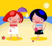 Kids On Beach Happy Play Royalty Free Stock Photography