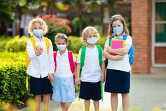 Free Kids On First School Day After Quarantine Stock Photo - 187701110