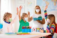 Free Kids On First School Day After Quarantine Stock Images - 217146904