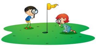 Kids On Golf Ground Stock Photos