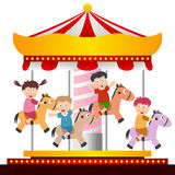 Kids On The Carousel Stock Images