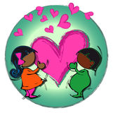 Heart Circle Mandala, Cartoon for African-Indian Baby Children Couple Stock Images
