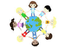 Kids one world one family - vector Royalty Free Stock Image
