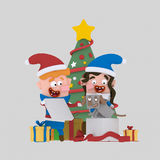 Kids opening gifts in front of Xmas tree.3D. 