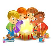 Christmas miracle - kids opening a magic gift Royalty Free Stock Image