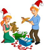 Kids Opening Xmas Gift Boxes. Vector illustration of happy blonde children opening Christmas presents royalty free illustration